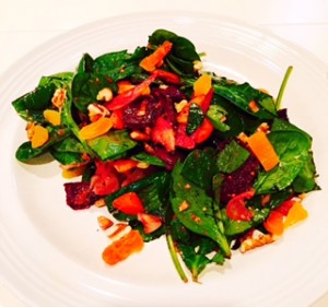 Spinach Salad with Roasted Vegetables & Apricot