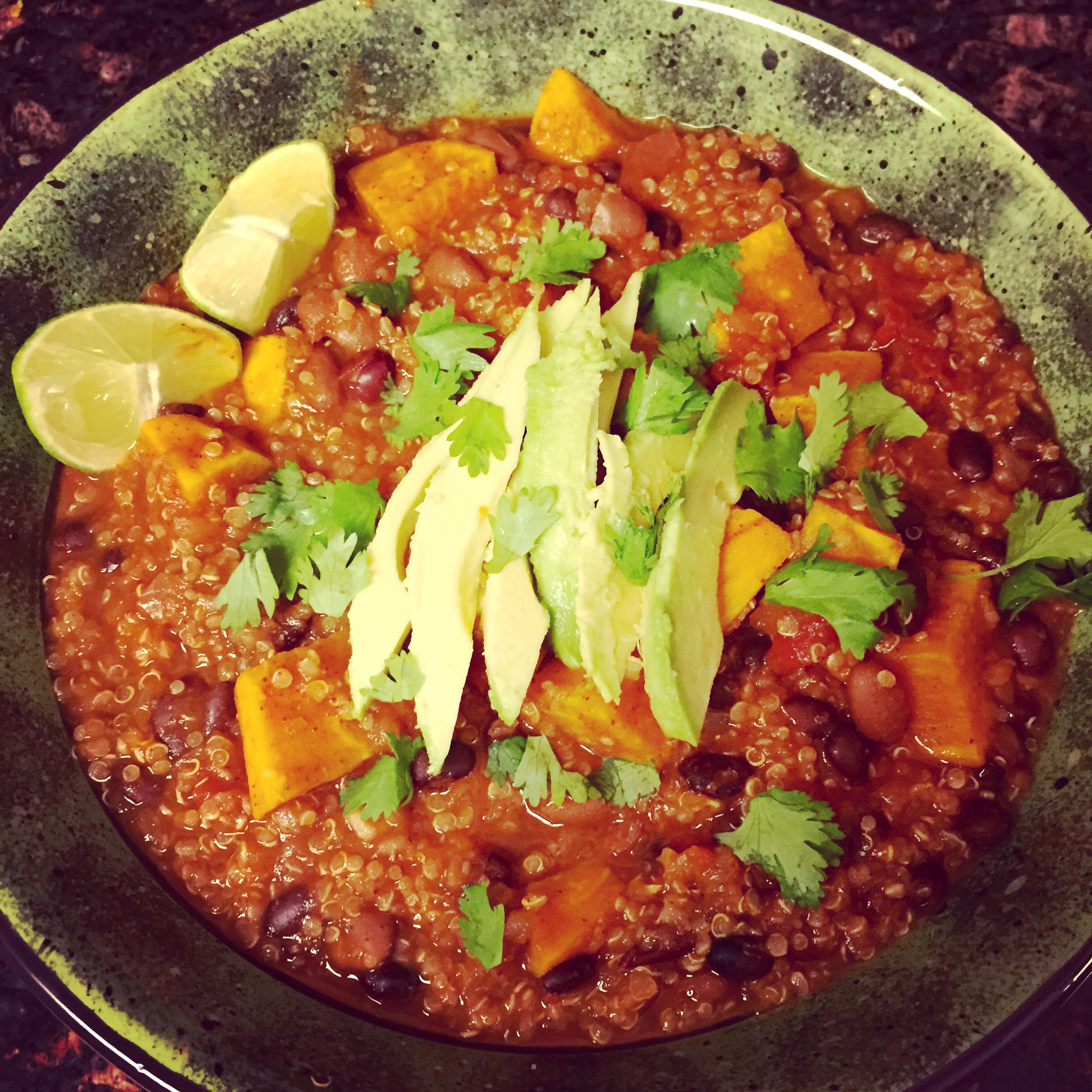 Vegetarian Sweet Potato, Bean, and Quinoa Chili