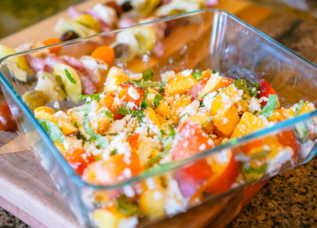 Necartine, feta and basil salad