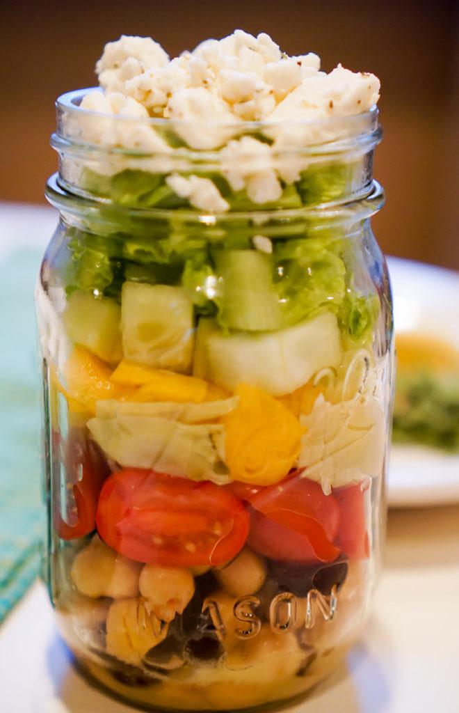 Greek Salad in a Mason Jar