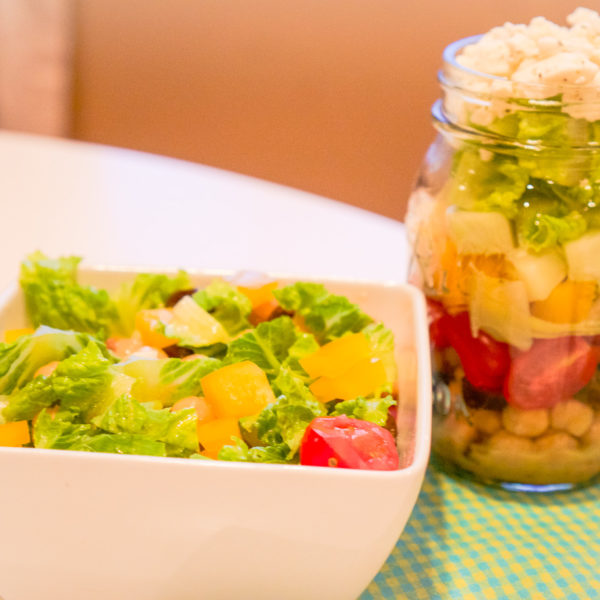 Greek Salad in a Mason Jar
