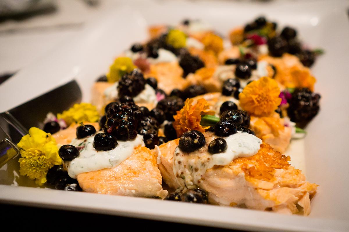 pan-seared salmon with lemon and chive infused yogurt & fresh berries