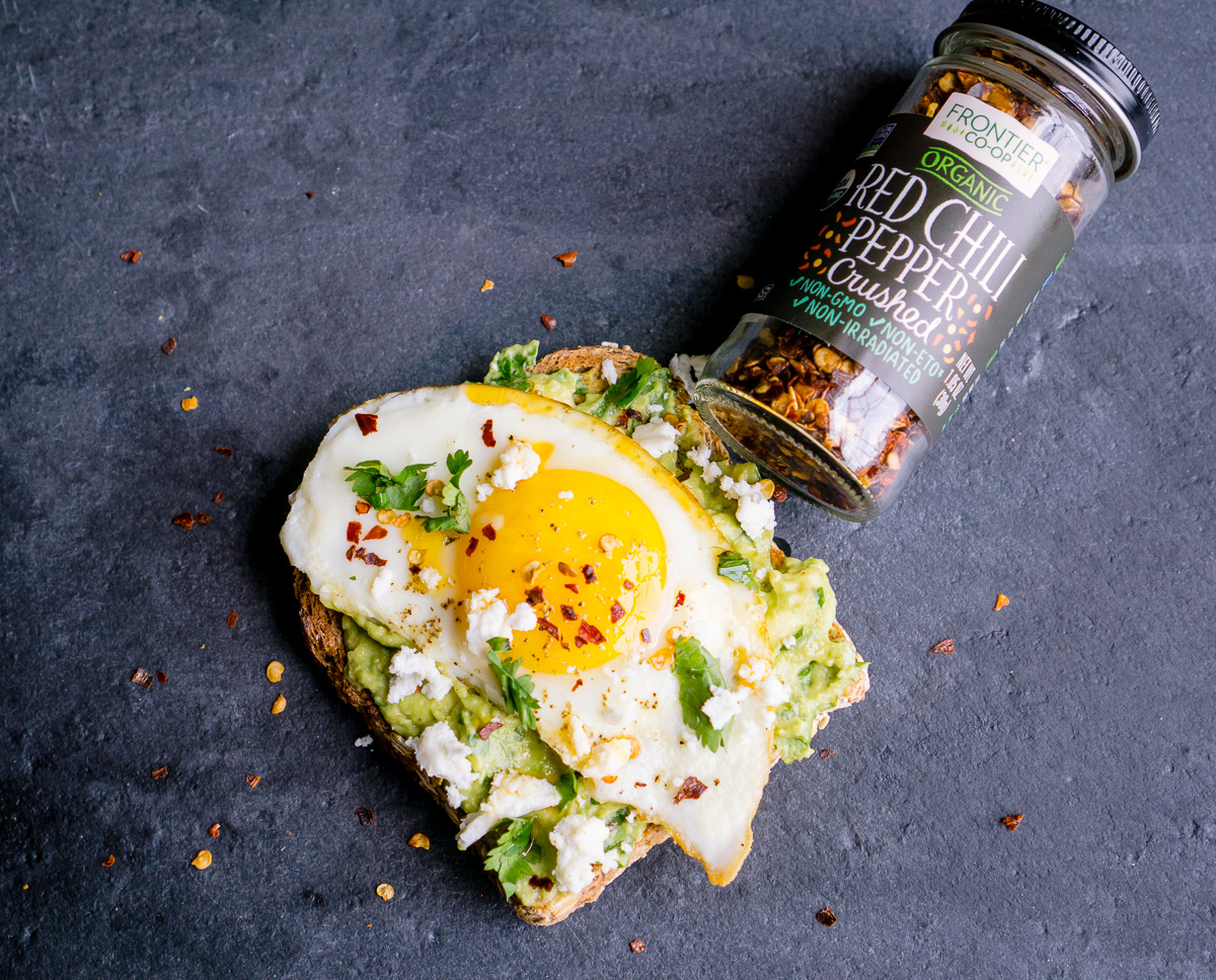 Avocado Toast with Organic Red Pepper Flakes