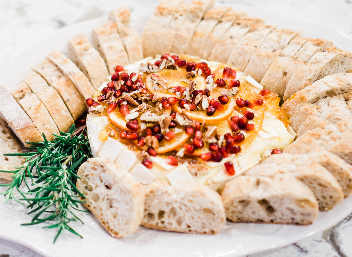 Baked Brie with Orange Marmalade, Pomegranates & Pecans